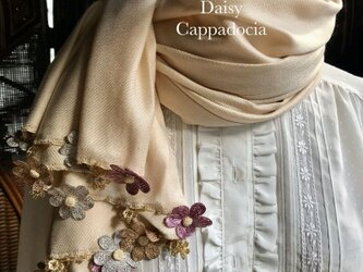 刺繍のお花つき パシュミナストール「デイジー」ライトベージュの画像