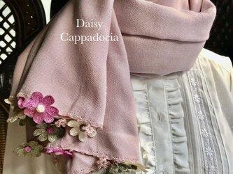 刺繍のお花つき パシュミナストール「デイジー」ピンク&グリーンの画像