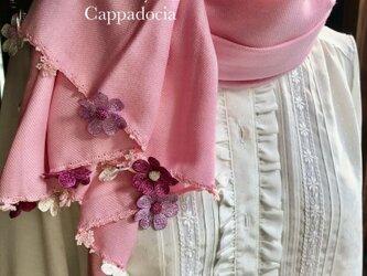刺繍のお花つき パシュミナストール「デイジー」ストロベリーの画像