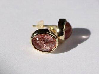Strawberry quartz 10×8 Pierce / K10YG + K18YGの画像