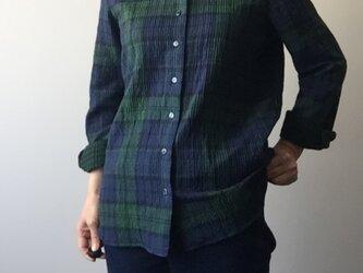 タータンチェックのシャツ コットンリバーシブルの画像