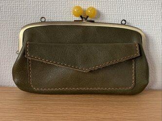 【送料無料】コロン♪と大玉口金の、外ポッケがついた本革ぺたんこ親子がまぐち長財布の画像