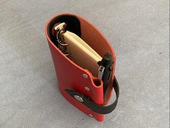 【mini5 r&b】筒状クリップホルダーのシステム手帳 SN5-001rbk ヌメ床革 レッド&ブラック レザーノート ミニ5の画像