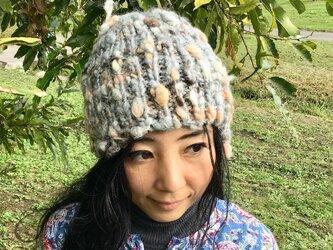 手染草木染 手紡ぎ 手編み ニット帽子 ☆メリノウール グレーグラデーションの画像