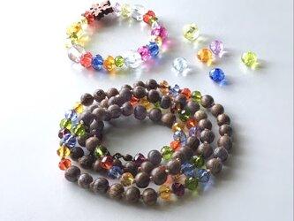 宝石ビーズのネックレス /ウッドビーズ, ガラスビーズの画像