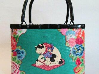 一閑張りバッグ中袋付き 『猫と花シリーズ』 浮世絵仕上げの画像