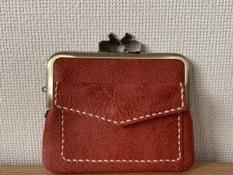 【ネコポス送料無料】ぱかっと開くとお部屋が3つの親子がまぐち♪外ポッケが付いた、うさぎ口金の四角い本革ぺたんこミニ財布の画像