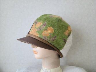 魅せる帽子☆ふんわり♪ウールニットと異素材のキャスケット~グリーンキャメルの画像