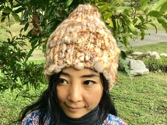 手染草木染 手紡ぎ 手編み ニット帽子 ☆メリノウール アルパカの画像