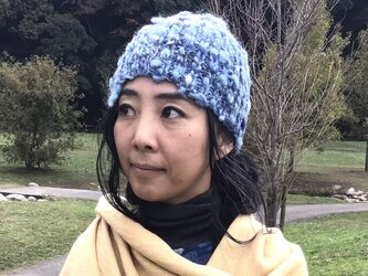 手染草木染 手紡ぎ 手編み ニット帽子 ☆ウール 藍染 インディゴの画像