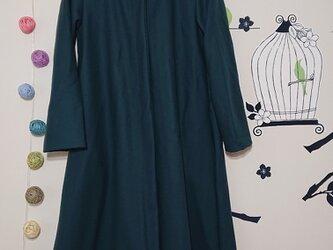 今日の大人服 Aラインのフードコート 上質メルトンウール グリーンの画像