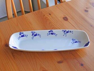 ブルーのトナカイ ロングディッシュの画像