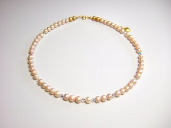 淡水パール&スワロフスキーのネックレスの画像