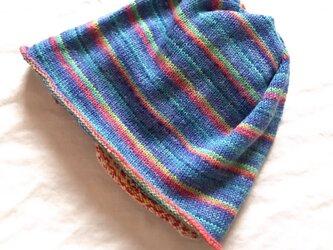 【送料無料】 ★ドイツopal毛糸  腹巻帽子 便利なニット帽の画像