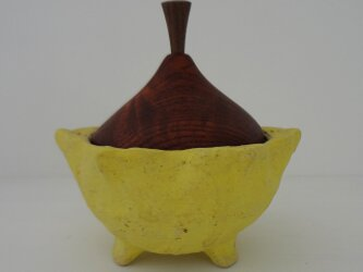 六花弁 黄色・蓋物の画像