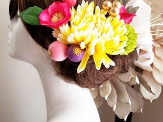 重ねキクとピンク椿の10点Set No776 結婚式 髪飾り 和装の画像