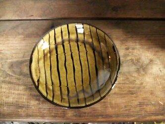 スリップウェア淡黄丸皿の画像