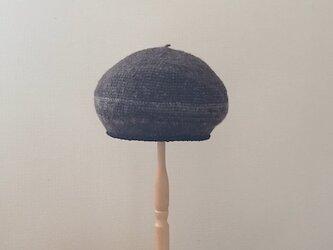 紡ぎ糸の丸い帽子 焦げ茶とグレーの画像