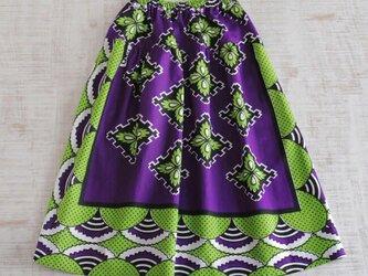 カンガのヨーク付きスカート アフリカ布スカートの画像
