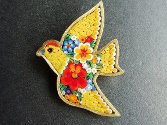 鳥のブローチ(イエロー)の画像