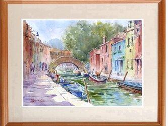 水彩画原画 運河・イタリア ブラーノ島の画像