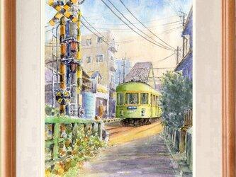 水彩画原画 踏切と江ノ電 #442の画像