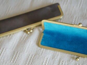 真鍮使いの口金ペンケース(1本用)/ライトグレー×アクアブルーの画像