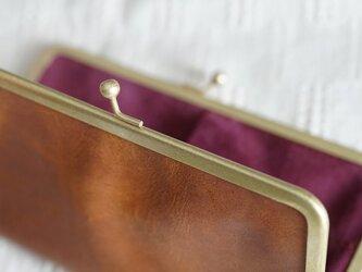真鍮使いの口金ペンケース(3本用)/キャメル×ボルドーの画像