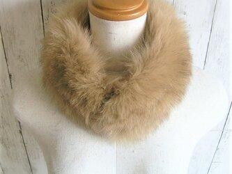 ¶ new antique fur ¶ カーキ/ライトブラウンフォックスマグネット留めショールマフラーの画像