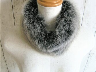 ¶ new antique fur ¶ 霜降りグレイッシュフォックスマグネット留めショールマフラーの画像