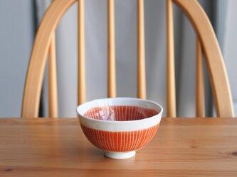 赤いウェーブのお茶碗(小)の画像