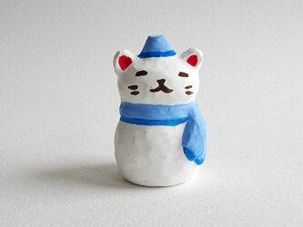 雪だるま猫 水色3(鶏口舎キャスト)の画像