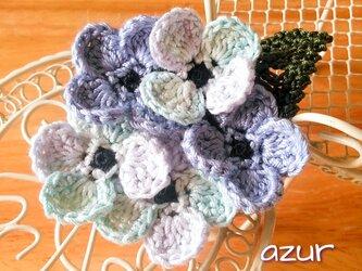小さな紫陽花のコサージュ ブルー系の画像
