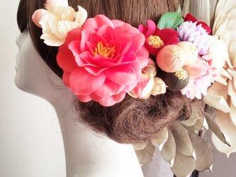 花kirari サーモンピンク椿と桜の髪飾り14点Set No778の画像