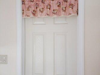 フラワーバスケット♪カフェカーテン  バランス 横101cm×縦25cm ピンク 花柄の画像