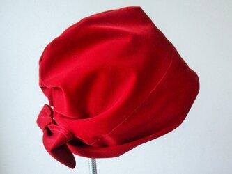 ビロードキャップ シャーロット 赤の画像
