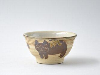 ハチワレネコ お茶碗 小2 沖縄のやちむんの画像