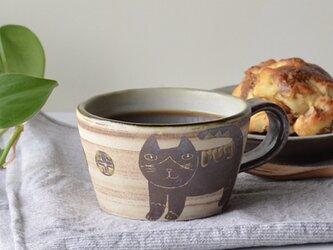 ハチワレネコ マグカップ s4 沖縄のやちむんの画像