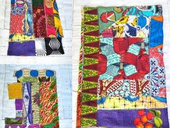アフリカ布パッチワーク スカート ストール スカーフ ポンチョの画像