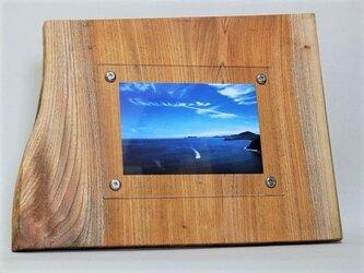 木製写真立て 壁掛け対応 No.11 欅の天然木(KG-16)の画像