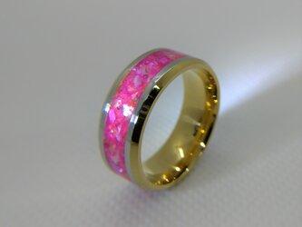 ハンドメイドリング ピンク&ゴールドの画像