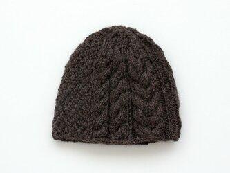 天然色羊毛100% アラン模様ニットキャップ (チョコレートブラウン)の画像