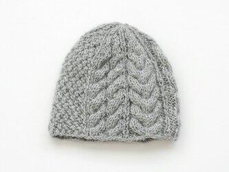 天然色羊毛100% アラン模様ニットキャップ (ライトグレー)の画像