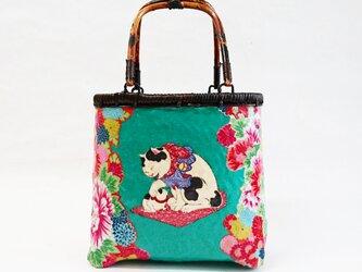 """一閑張りバッグ  """"花と猫  小""""  浮世絵仕上げ の画像"""