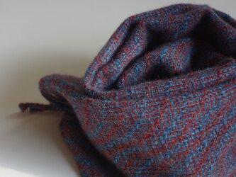 手織りカシミアマフラー・・葡萄色の葉っぱの画像