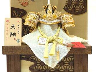新商品 五月人形 白鐘(しろがね)麻の葉月に雲収納兜飾りの画像