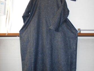 シルク混デニム コクーンワンピースドロップポケット型の画像