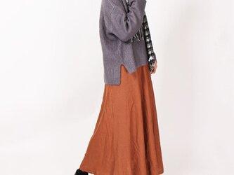 リネンサーキュラーロングスカート(キャメル)の画像