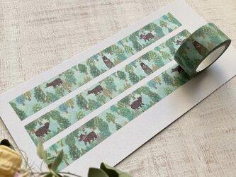 オリジナルマスキングテープ【ツキノワグマの森+鮭】の画像