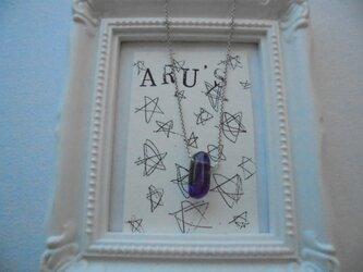 アメジストの粒リンのネックレスの画像